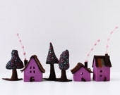 Little houses with trees, house warming gift, Miniature, eggplant color