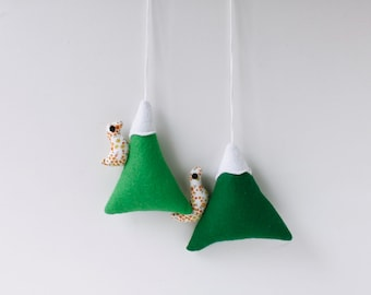 Felt ornaments with bird, children decor ornaments,Green Felt Mountains, Snowy Peaks, Kids room decor