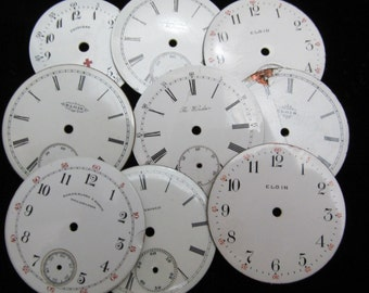 Steampunk Watch Dials Vintage Antique Faces Parts Enamel Porcelain Metal Mixed Media  WC 30