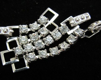 Vintage Silver Rhinestone Extenders and clasps RJ 81