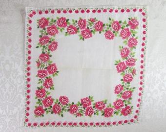 Vintage Handkerchief Hankie Hanky Pink Roses