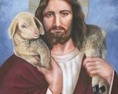 Christ Jesus, The Good Shepherd, Savior, Redeemer, 8 X 10 Print on 110lb Card Stock taken from my Original Acrylic Painting, Catholic Art,