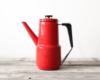 Coffee Percolator Red Enamel Pot By Dan Kok Denmark Glad & Marstrand
