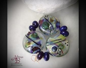 9 colourful beads, Beadset, SRA B131,colorful beads set, Lampwork, Murano