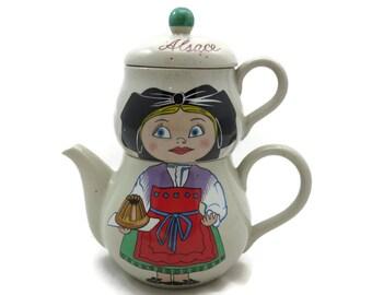 Stacking Teapot - Tea for One, Alsace France Souvenir