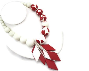 Jay Strongwater Feinberg Jewelry - Red White, Lucite and Wood Statement Necklace, Designer Costume Jewelry, Retro 1980s