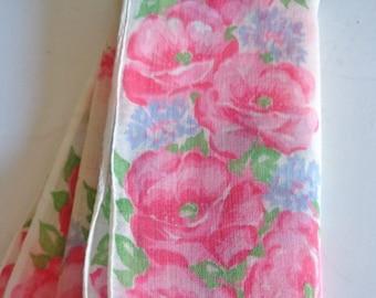 Vintage Pink Floral Handkerchief Hankie