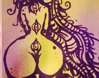 spEYEn Goddess Lucid Rose block print sticker