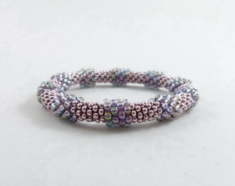 Baubled Bead Rope Bangle, Bead Crochet Rope Bracelet in Pink and Blue - Item 1496