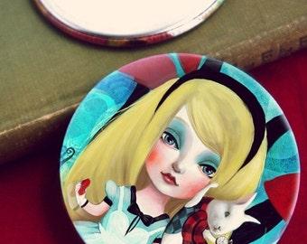 ON SALE Alice  pocket mirror -- 3 inch one-side pocket mirror, white rabbit mirror, lewis carroll fairytale mirror for little girl -  by Mel
