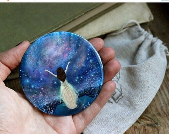 ON SALE Reach For The Stars pocket mirror   empowerment mirror, feminist pocket mirror, galaxy, self confidence, inner strength   by Melusee