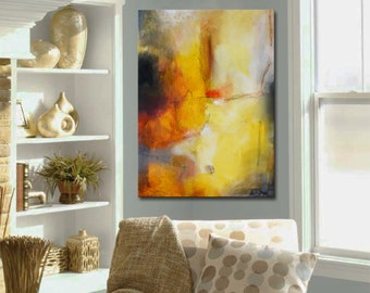 Gold Abstract Painting, Large Gold Abstract,  Free shipping, Abstract Original Painting by Andrada 24x18 Orange painting,Mixed media art