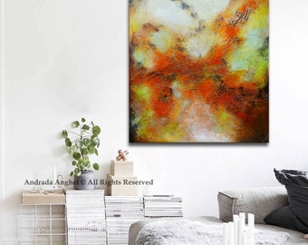 Abstract painting red and yellow, Original Abstract Painting,Red textural Painting,Sculpted Textured Painting, Abstract art, large painting