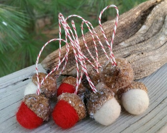 Wool Needle Felted Frosty Acorn Ornaments in Red & White Home Decor Holiday Decorations