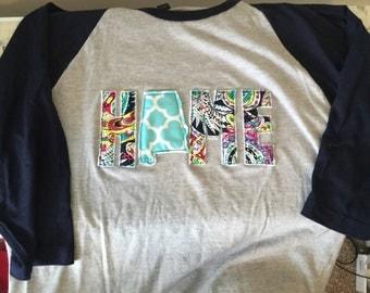 Home state love raglan 3/4 sleeve shirt 25 states