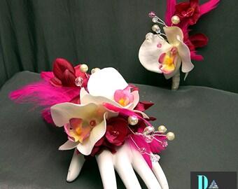 Hot Pink Feathered Wrist Corsage Set