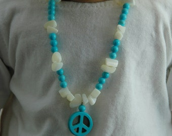 White stone, peace sign, beaded necklace, made for 18 inch doll, beaded jewelry