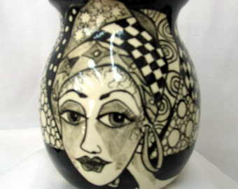 Hand Painted Black & White Contemporary Lady's Faces Ceramic Vase /Container with Zentangle Accents on Etsy