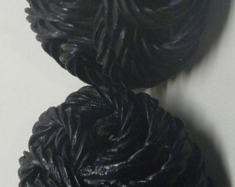 Pair of Matching Large Extruded Black CELLULOID Pasta BUTTONS Art Deco Vintage 1.25 Inches Diameter