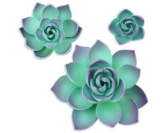 Purple Gum Paste Succulents - succulents cake toppers, edible succulent cake decorations