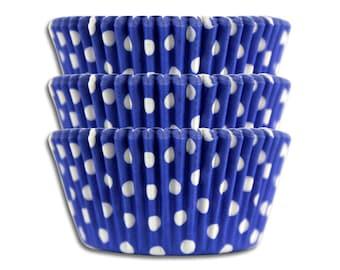 Royal Blue Polka Dot Baking Cups - 50 paper cupcake liners