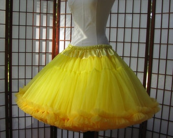 Petticoat Lemon Yellow Organdy with Sun Yelow Chiffon Size Large Custom