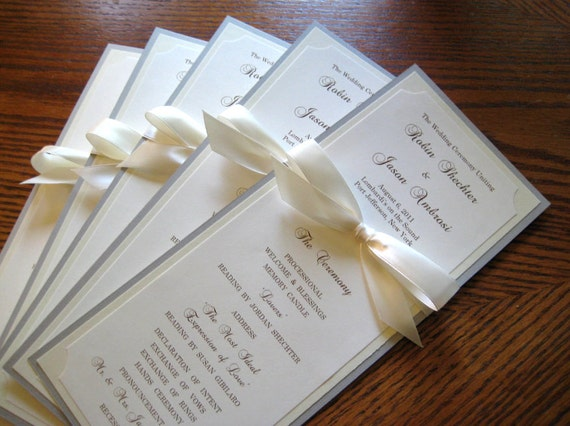 Wedding Program in Custom Colors, Fonts, Double Sided with Ribbon Bow - Bistro Collection SAMPLE