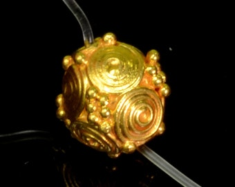 18k Solid Yellow Gold 6.8mm Fancy Old-fashioned Spacer Findings Bead (1)