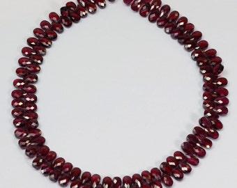 "3mmx5mm Rhodolite Garnet Calibrated Cut Flat Pear Briolette Beads 8.5"" Strand"