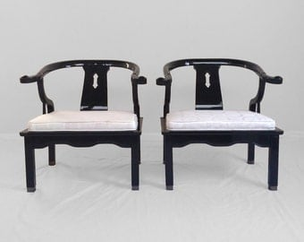 2 asian James Mont style black lacquer horseshoe Ming chairs