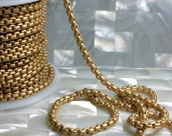 NEW! Chain 4mm Matte Gold Plated Box Square Link Brass Chain Closed Link Goth Sturdy Small Jewelry Jewellery Craft Supplies