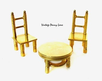 Vintage Miniatures, Brass Metal Table and Chair Figurines