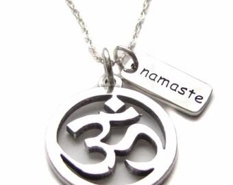 "OM Jewelry, Aum, Ohm, Sterling Silver Om Sanskrit Yoga Symbol Charm, Namaste Charm Sterling Silver Necklace 18"""