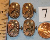 4 RARE Vintage Rectangle Rose Brass WHOLE WATCHES Lot #7 Steampunk Watch Movements Minimal to Moderate Rust