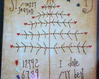 I Done My Best Primitive Stitchery FEATHER TREE Snowman embroidery pattern #121 plus Clay Buttons