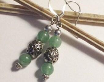 Beaded Earrings Green Aventurine