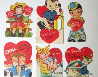Lot of 6 Vintage 1950-60's Kid's Valentines with Children Activities, Old School Valentines, Vintage Supplies, Collector Cards, Scrapbooks