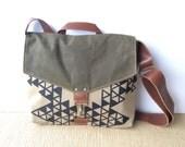 commuter • mens  or womens crossbody messenger bag - geometric print • screenprinted - olive green waxed canvas - industrial canvas • vukani