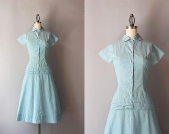 1940s Dress / Vintage 40s Pale Chambray Day Dress / 1950s Peter Pan Collar Cotton Dress