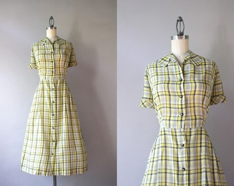 1940s Dress / Vintage 40s Sheer Yellow Plaid Day Dress / Crisp Cotton Golden Plaid 50s Dress