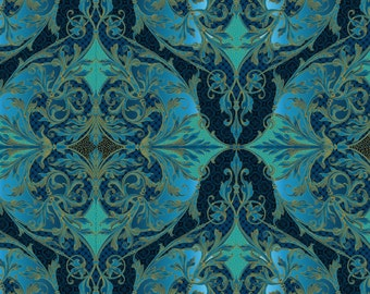 Jason Yenter Peaceful Holiday Teal Gold In the Beginning Fabric 1 yard