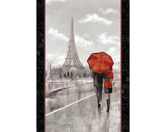 Couple in Paris Grey Artworks Digital Quilting Treasures Fabric Panel