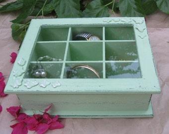 Light Green Shabby Chic  Wooden Jewelry Box, Jewelry Storage, jewelry box vintage