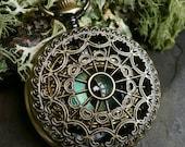 Gothic Steampunk Blue Green and Gold Eye Pocket Watch