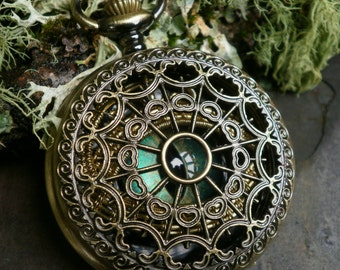 Gothic Steampunk Blue Green and Gold Eye Pocket Watch