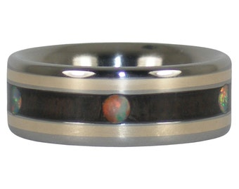 Opal Cab Blackwood and Gold Ring Band
