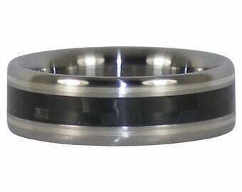 Silver Black Carbon Fiber Titanium Ring