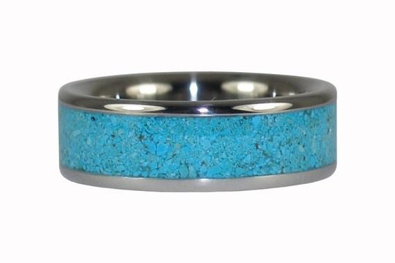 Blue Turquoise Titanium Ring