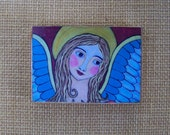 "Angel Woodblock print painting Folk Art Shabby farmhouse decor 3.5"" x 5"""