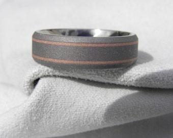 Wedding Band, Titanium with Copper Inlay Ring, Beveled Edge, Sandblasted
